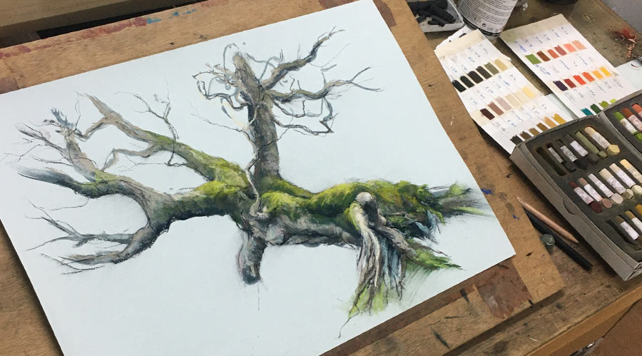 a pastel painting of a tree